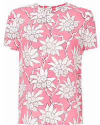 Camiseta con cuello circular estampada rosa de Valentino