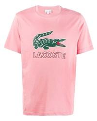 Camiseta con cuello circular estampada rosada de Lacoste