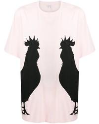 Camiseta con cuello circular estampada rosada de Loewe