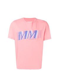 Camiseta con cuello circular estampada rosada de Maison Margiela