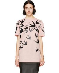 Camiseta con cuello circular estampada rosada de MCQ