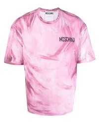 Camiseta con cuello circular estampada rosada de Moschino