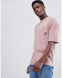 Camiseta con cuello circular estampada rosada de Tom Tailor