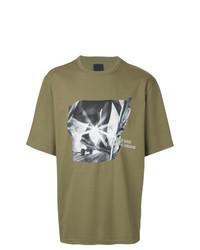 Camiseta con cuello circular estampada verde oliva