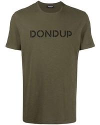 Camiseta con cuello circular estampada verde oliva de Dondup