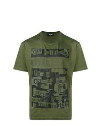 Camiseta con cuello circular estampada verde oliva de DSQUARED2