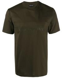 Camiseta con cuello circular estampada verde oliva de Emporio Armani