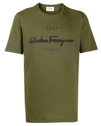 Camiseta con cuello circular estampada verde oliva de Salvatore Ferragamo