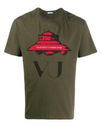 Camiseta con cuello circular estampada verde oliva de Valentino