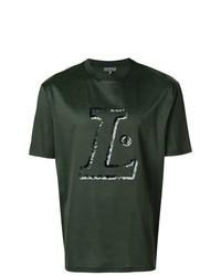 Camiseta con cuello circular estampada verde oscuro