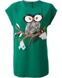 Camiseta con cuello circular estampada verde oscuro de Dolce & Gabbana