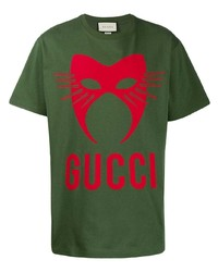 Camiseta con cuello circular estampada verde oscuro de Gucci