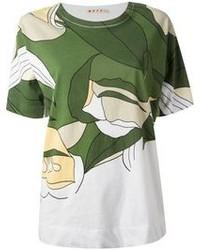 Camiseta con cuello circular estampada verde oscuro de Marni