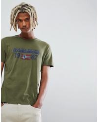 Camiseta con cuello circular estampada verde oscuro de Napapijri