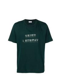 Camiseta con cuello circular estampada verde oscuro de Saint Laurent