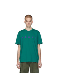 Camiseta con cuello circular estampada verde de Marni