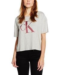 Camiseta con cuello circular gris de Calvin Klein