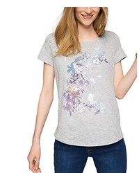 Camiseta con cuello circular gris de Esprit
