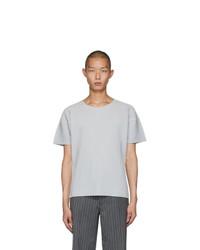 Camiseta con cuello circular gris de Homme Plissé Issey Miyake