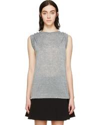 Camiseta con cuello circular gris de Isabel Marant