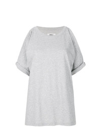 Camiseta con cuello circular gris de MM6 MAISON MARGIELA