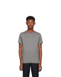 Camiseta con cuello circular gris de Moncler