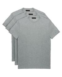 Camiseta con cuello circular gris de Prada