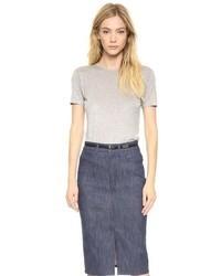 Camiseta con cuello circular gris de Victoria Beckham