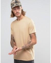 Camiseta con cuello circular marrón claro de Asos