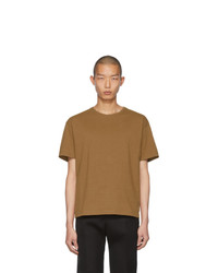 Camiseta con cuello circular marrón claro de Bottega Veneta
