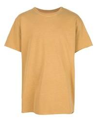 Camiseta con cuello circular marrón claro de John Elliott
