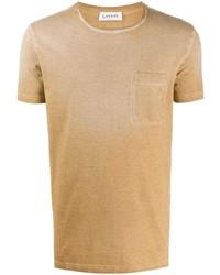 Camiseta con cuello circular marrón claro de Lanvin