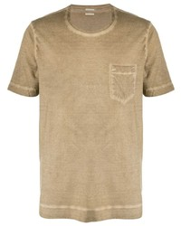 Camiseta con cuello circular marrón claro de Massimo Alba