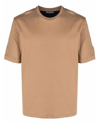 Camiseta con cuello circular marrón claro de Neil Barrett