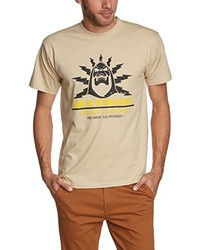Camiseta con cuello circular marrón claro de Touchlines