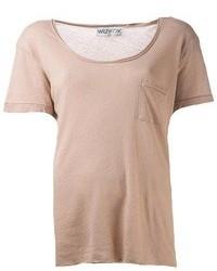 Camiseta con cuello circular marrón claro de Wildfox Couture