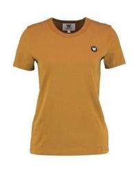 Camiseta con cuello circular marrón claro de Wood Wood