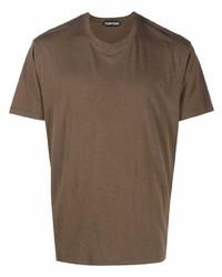 Camiseta con cuello circular marrón de Tom Ford