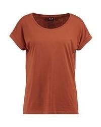 Camiseta con cuello circular marrón de Vila