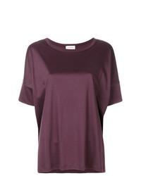 Camiseta con cuello circular morado oscuro