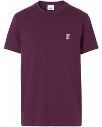Camiseta con cuello circular morado oscuro de Burberry
