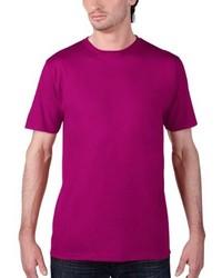 Camiseta con cuello circular morado de Anvil