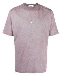 Camiseta con cuello circular morado de Stone Island