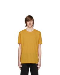 Camiseta con cuello circular mostaza de Hugo
