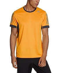 Camiseta con cuello circular naranja de adidas