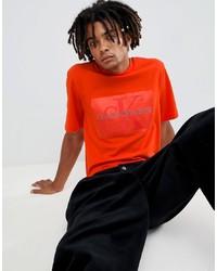 Camiseta con cuello circular naranja de Calvin Klein Jeans