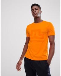 Camiseta con cuello circular naranja de J. Lindeberg