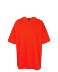 Camiseta con cuello circular naranja de Juun.J