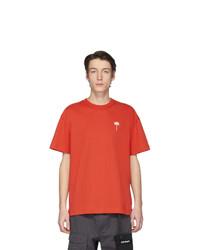 Camiseta con cuello circular naranja de Palm Angels