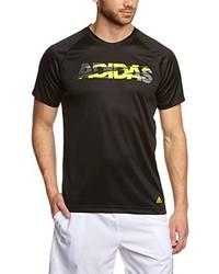 Camiseta con cuello circular negra de adidas